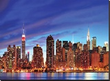 NYC Skyline HDR Stretched Canvas Print