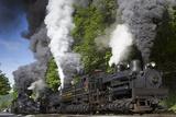 Shay Locomotive 11 (1923), Heisler 6 (1929), and Shays 5 (1905) and 6 (1945) Fotografisk tryk af Kent Kobersteen