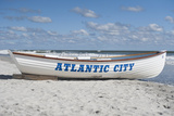 A Rowboat Sits on the Beach in Atlantic City, New Jersey Photographic Print by Jeff Mauritzen