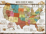 United StatesOf America Map II Stretched Canvas Print