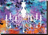 Neon Chandelier II Stretched Canvas Print by Miranda York