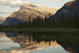 Canadian Rockies and Mount Rundle at Dusk, Seen from Vermillion Lakes Photographic Print by Keith Barraclough