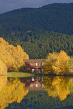Cottonwood and Aspen Trees Surround a House and Mystic Heights Pond Photographic Print by Gordon Wiltsie