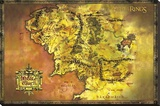 Le Seigneur des Anneaux, carte couleur de la Terre du Milieu Toile tendue sur châssis