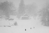 Residents of Old Wethersfield on the Cove During a Snow Storm Photographic Print by Brian Drouin