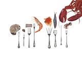 Various Forks Used for Oysters, Shrimp, Sardines, Snails and Lobster Fotografisk tryk af Rebecca Hale