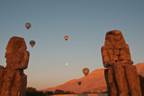 Hot Air Balloons Above the Colossi of Memnon in the Valley of the Kings Near Luxor Photographic Print by Karen Kasmauski