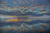 A Beautiful Seascape of Puffy Little Clouds Reflected in Icy Water at Sunset Photographic Print by Ira Meyer