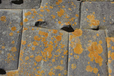 Stonework with Orange Lichen in an Incan Fortress and Temple Photographic Print by Beth Wald