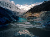 A View of the Glacier on Ranrapalca Mountain, and Llaca Lake at its Foot Photographic Print by Diane Cook Len Jenshel