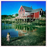 A Two Year Old Girl Walks the Low Tide Shoreline at Orr's Island Photographic Print by Skip Brown