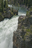 Tourists Watch Yellowstone River Plunge over Upper Yellowstone Falls Photographic Print by Gordon Wiltsie
