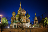 Saint Basil's Cathedral Illuminated at Night on Red Square, a UNESCO World Heritage Site Photographic Print by Kent Kobersteen