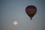 The Moon and a Hot Air Balloon Above the Desert Near the Valley of the Kings Photographic Print by Karen Kasmauski