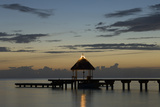A Pier with a Gazebo and Benches for Relaxation at Dusk Photographic Print by Sergio Pitamitz