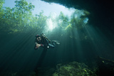A Cave Diver Explores the Cenote El Pit in Quintana Roo, Mexico Photographic Print by Cesare Naldi