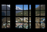 Looking Out from the Window of a Lodge in Namche in the Everest Region of Nepal Photographic Print by Alex Treadway