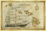 A 1876 Centennial Map of the Hawaiian Islands with Artwork of a Sailing Ship Fotografisk trykk av Patrick McFeeley