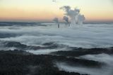 Steam and Smoke Rise from the Cooling Towers and Chimneys of a Power Plant Photographic Print by Robb Kendrick