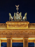 Detail of the Equestrian Statue, or Sculpture, Atop the Brandenburg Gate, at Night Photographic Print by Babak Tafreshi
