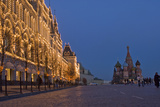 Lighted Stores and Saint Basil's Cathedral Rise Beside Red Square Photographic Print by Gordon Wiltsie