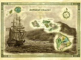 A 1876 Centennial Map of the Hawaiian Islands with Artwork of a Sailing Ship Fotografisk tryk af Patrick McFeeley
