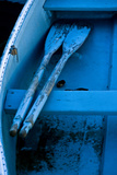 Oars Resting on a Thwart in an Old Blue Rowboat Photographic Print by Brian Gordon Green
