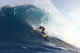 Garrett Mcnamara, Big Wave Surfer, Surfing Down a Wave Face at Jaws Papier Photo par Patrick McFeeley