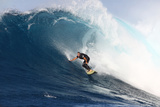 Garrett Mcnamara, Big Wave Surfer, Surfing Down a Wave Face at Jaws Fotografisk trykk av Patrick McFeeley