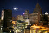 Downtown Detroit's Skyscrapers Touch the Night Sky Photographic Print by Melissa Farlow