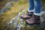 Close Up of Leather Trekking Boots in the Cairngorms National Park in Scotland Photographic Print by Alex Treadway