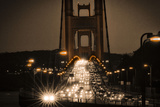 Night on the Golden Gate Bridge, Spanning the San Francisco Bay at the Pacific Ocean Photographic Print by Jim Sugar