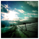 A Wind Blown Snowy Road in Western Maryland Photographic Print by Skip Brown