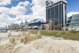 A Sandcastle Is Built at the Atlantic City Beach in New Jersey Photographic Print by Jeff Mauritzen
