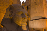 A Stone Head of Ramses Ii Illuminated at Night in Luxor Temple Photographic Print by Michael Melford