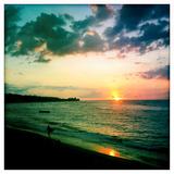 A Surfer Heading Home at Sunset on Shacks Beach Near Aquadilla, Puerto Rico Photographic Print by Skip Brown