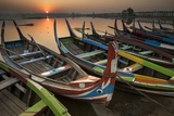 Colorful Boats on Lake Taungthaman at Sunrise Photographic Print by Tino Soriano