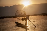 A Fisherman on Inle Lake in the Early Morning Photographic Print by Tino Soriano