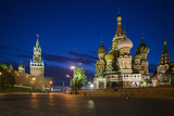 Spasskaya Tower, also Called Savior's Tower, and Saint Basil's Cathedral at Night Photographic Print by Kent Kobersteen
