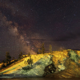 The Milky Way over Geothermal Hot Springs in a Geyser Basin, at Night Photographic Print by Babak Tafreshi