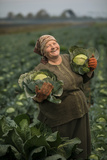 A Cabbage Farmer on Her Farm Fotografiskt tryck av Jim Richardson