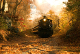 Brian Drouin - The Essex Steam Train Chugs Through the Autumn Forest Fotografická reprodukce