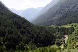 View of Forested Mountains and Road in a Valley Below Photographic Print by Sean Gallagher