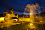 Fountains and the Cathedral in Cuzco at Night Photographic Print by Michael Melford