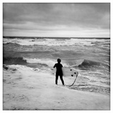 A Boy Stares at Messy Surf Photographic Print by Skip Brown