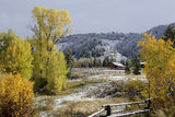 A Farm in the Mountains Is Covered by a Fall Snow Photographic Print by Barrett Hedges