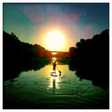 A Boy Paddles His Paddle Board on the Potomac River Reproduction photographique par Skip Brown