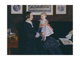 Mrs James Wyatt Jr and Her Daughter Sarah Giclee Print by John Everett Millais