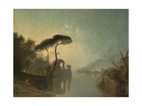 Lake, Ruin and Pine Trees Giclee Print by Richard Wilson