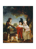 Portrait of Sir Francis Ford's Children Giving a Coin to a Beggar Boy Giclee Print by Sir William Beechey